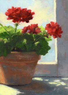 """Geraniums Sunlit"" original fine art by Linda Jacobus"