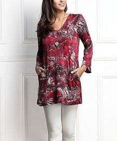 Red Paisley Square Neck Bell-Sleeve Tunic - Plus Too