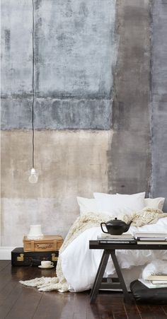 Interior Industry Urban Grey Bedroom Living Space  with Graphic Wall Design. #interior, #industry