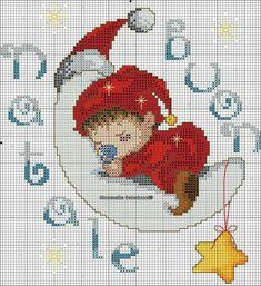 A lua e o baby Cross Stitch Baby, Cross Stitch Charts, Cross Stitch Patterns, Crochet Patterns, Cross Stitching, Cross Stitch Embroidery, Baby Afghans, Christmas Embroidery, Yarn Projects