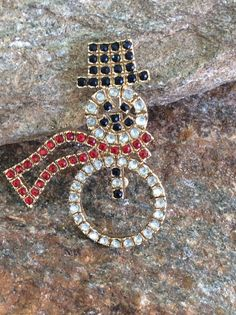Rhinestone Snowman Brooch signed LE, Christmas Brooch, Holiday Jewelry, Gift Idea