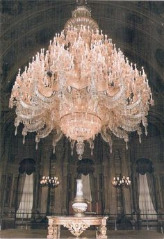 The largest chandelier in the world weighs 4 tons and is pink. It was a gift from Queen Victoria for the Dolmabakce Palace in Istanbul.