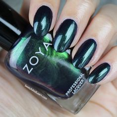 Zoya Olivera is a spellbinding duochrome from the Zoya Enchanted Collection with green and flashes of indigo! (See collection swatches on SwatchAndLearn.com.)