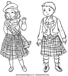 Scottish children colouring page. More children to find at this pinners