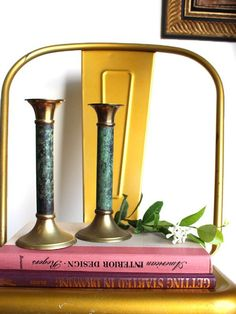 Pair of Vintage Faux Malachite and Aged Brass Candlestick Holders