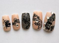 Japanese Nail Art Black Chantilly Medium by NeverTooMuchGlitter