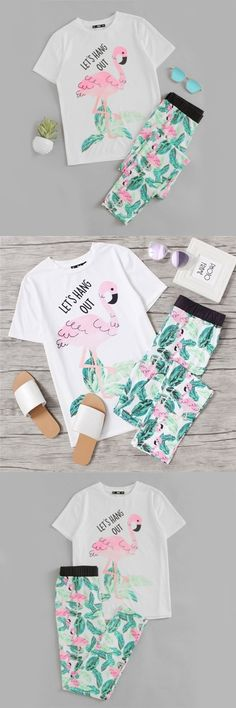 Cute Pink Flamingo Jungle Leaf Print Pajama Set If you love Pink Flamingos, then you will love this Cute Pink Flamingo Jungle Leaf Print Pajama Set. They have a beautiful flamingo and jungle leaf print and a fun flamingo quote on the top. Flamingo Decor, Pink Flamingos, Cute Pink, Pretty In Pink, Flamingo Birthday, Pink Quotes, Kids Socks, Hot Outfits, Leaf Prints