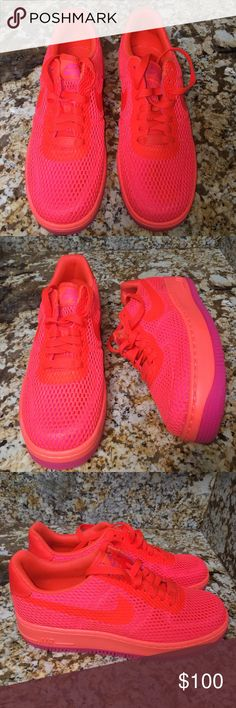 NIKE Air Force 1 Low Upstep Total Crimson Size 8 Nike Air Force One Low Upstep Total Crimson Size 8! Brand New Without Box Never Worn! Nike Shoes Sneakers
