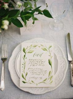 Greenery wedding dinner menu   via Joy Proctor   #greenwedding