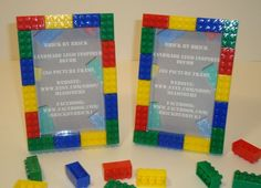 Lego themed boy's bedroom decoration picture frame set of (4), 4x6 size, red, blue, green, yellow building blocks