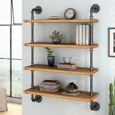 Dane Solid Wood Wall Shelf – Home Office Design Diy Iron Pipe Shelves, Industrial Pipe Shelves, Rustic Shelves, Wooden Shelves, Floating Shelves, Pipe Shelving, Dvd Shelves, Industrial Lamps, Shelving Ideas