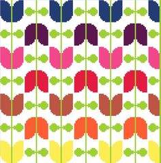 This week's listings on Folksy: Retro tulips strung on a vine - Cross stitch pattern