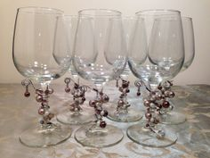 6Pc Taupe and Pearls Charmed Wine Glass with by GemStemWineGlass, $55.00 (REDUCED)