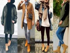 Hijab styles with timberland boots-Winter Hijab fashion combinations – Just Trendy Girls