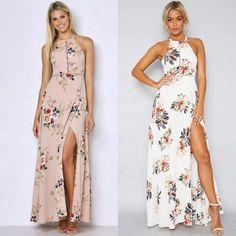 b7ed2d2669 Elegant Halter Neck Floral Print Maxi Dress OASAP.com Short Long Dresses