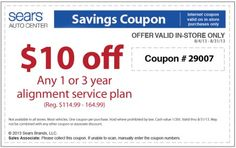 $10 Off Sears Alignment Service Plan Coupon August 2013