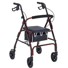Invacare Probasics Flame Finish Aluminum Rollator With Loop Brakes - 1037BK