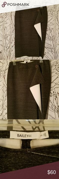 Bailey 44 pencil skirt Super flattering heather gray Bailey 44 skirt. Thick stretchy material with button and fold over ruffle. Bailey 44 Skirts Pencil