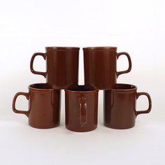 Vintage Coffee Cup Set of 5  Brown Mugs Teacup Made in by ByHeart, $19.90