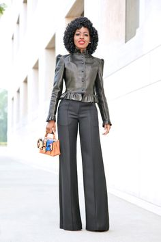 Ruffle Leather Jacket + High Waist Wide Leg Trousers