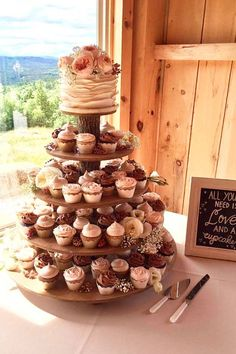 Rustic Cupcake Stand 5 Tier (Tower / Holder) for Donuts or Pastries for Wedding, Birthday, Shower, Anniversary, Party - Wood Wooden