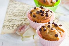 Add semi-sweet chocolate chips to peanut butter batter and sprinkle more of them on top to make these muffins extra delicious.