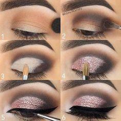 Step by Step Pink Glitter Eye Makeup Tutorial - Make-up Anleitung - Maquillaje Glitter Eye Makeup, Pink Makeup, Glitter Makeup Tutorial, Face Makeup, Makeup Tutorial Step By Step, Eyebrow Makeup, Smokey Eye With Glitter, 1970s Makeup Tutorial, Make Up Ideas Step By Step