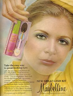 Maybelline New Great-Lash Kit, 1973 . Vintage Makeup Ads, Retro Makeup, Vintage Ads, Vintage Beauty, 1970s Makeup, Retro Ads, Vintage Clothing, Pose, Beauty Ad