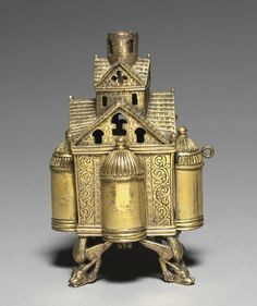Germany, Lower Saxony, Hildesheim?. Incense burner and stand for an altar cross, 1150-1175. Romanesque period, 12th century. Bronze: cast, gilded, engraved, and chased. Dimensions: Overall: 18.1 x 12.7 cm (7 1/8 x 5 in). Cleveland Museum Of Art, Romanesque, Incense Burner, 12th Century, Historical Art, Medieval Art, Religious Art, A4 Poster, Poster Size Prints