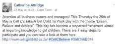 Screenshot from one of our #CellCBelieve influencers. #InfluencerMarketing #WordOfMouthAdvertising #theSALT #GirlChild2016