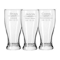 Groomsmen Gifts- 7 Laser Engraved 19 oz beer glass, pub glass, pilsner personalized, wedding favor on Etsy, 52,50€