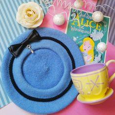 Alice In Wonderland Blue Wool Beret