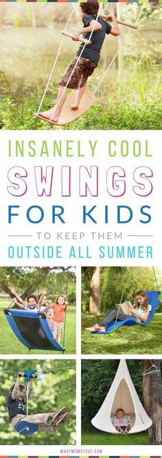 8 Outrageously Cool Swings & Hide-Outs That Will Keep Your Kids Outside. Awesome Backyard Ideas for Kids - Swings, Hangouts and Pods! Use them as fun Summer Activities and Boredom Busters for Outdoor Play. See them all at Backyard Swings, Backyard Playground, Backyard For Kids, Diy For Kids, Outdoor Swings, Backyard Landscaping, Toddler Playground, Backyard Games, Outdoor Lounge