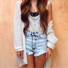 Cardigan and high-waisted shorts