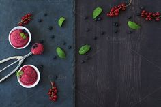 Berry sorbet with fresh mint. by kawizen  on Creative Market #sorbet #icecreams #summer #berries #fruits #fresh #natural #delicious #copyspace#darkbackground #wood #whitebowls #ice #creamscoop #mint #tabletop #nobody #background #stoneslate #redberries#blueberries
