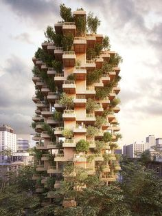 the tree tower stands at 62 meters high and will comprise 4500 sqm of residential areas and 550 sqm of public areas.