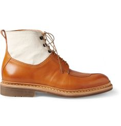 Heschung - Ginko Leather and Canvas Lace-Up Boots | MR PORTER