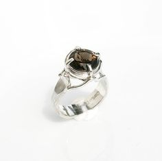 Smoky Topaz Quartz Ring OOAK Statement Jewelry Fine Gemstone