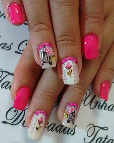 WEBSTA @ tatagodooy - Sem filtro, cor natural do esmalte!Rosa maravilhoso ❤#unhasrosa #delicadeza #inlove #apaixonada #amei #unhasfeminina #viciofeminino #viciadaemunhas #bomdia #sextafeirasualinda #rosaperfeito #neon #unhasglamurosas Manicure Nail Designs, Manicure And Pedicure, Flower Nail Designs, Cute Nail Designs, Gel Nail Art, Acrylic Nails, Fabulous Nails, Flower Nails, Red Nails