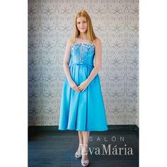 Modré štýlové vintage šaty Strapless Dress Formal, Formal Dresses, Salons, One Shoulder, Retro, Fashion, Lounges, Moda, Formal Gowns