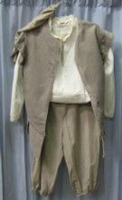 Renaissance Peasant Child Boy Costume Includes:   Shirt, Taupe Jerkin, Creme Knickers, 2 Dk. Brown Knee-his  Muffin 100 dollars, time to sew