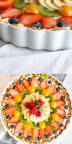 This Beautiful Breakfast Tart has a gluten free granola crust filled with thick Greek yogurt, and topped with a colorful sunburst of fresh juicy fruit. videos recipes breakfast brunch ideas Fruit and Yogurt Breakfast Tart VIDEO! Easy Brunch Recipes, Healthy Brunch, Healthy Dessert Recipes, Breakfast Recipes, Easter Recipes, Eat Clean Desserts, Breakfast Fruit Pizza Recipe, Brunch Ideas For A Crowd, Egg Recipes
