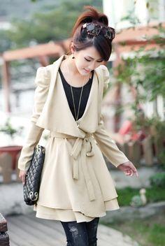 Fashion V Neck Long Sleeve Long Beige Trench
