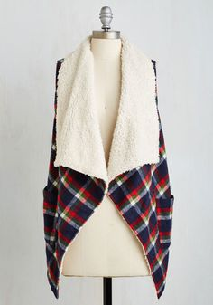 Forest Tourist Vest - Plaid, Pockets, Casual, Rustic, Sleeveless, Fall, Winter, Woven, 1, Collared, Blue, Multi, Long