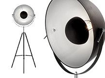 Chicago Floor Lamp, Black and Silver