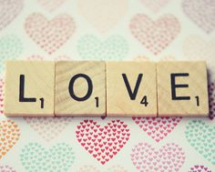 Love print  valentines day scrabble tile heart by dullbluelight