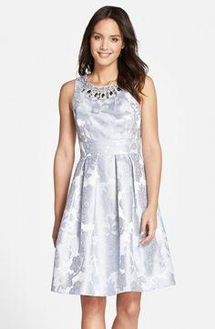 Eliza+J+Embellished+Neck+Floral+Jacquard++Fit+&+Flare+Dress+available+at+#Nordstrom