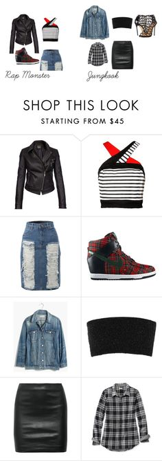 """Rap Monster and Jungkook Danger"" by bts1509 on Polyvore featuring Barbour International, LE3NO, NIKE, Madewell, Calvin Klein Collection, The Row, L.L.Bean and Dsquared2"