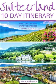 Day Itinerary Switzerland Places to Visit in 2 Weeks Switzerland is my favorite destination - and once you visit you will find out why it is so amazing. 10 days is surely not enough for this beautiful country but with this Switzerland itinerary, you Switzerland Places To Visit, Switzerland Travel Guide, Switzerland Itinerary, Switzerland Vacation, Switzerland Tourism, Geneva Switzerland, Destination Voyage, European Destination, European Travel