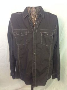 Surplus Menswear 100% Cotton Long Sleeve Shirt Blk-Color X-Large LUXE!